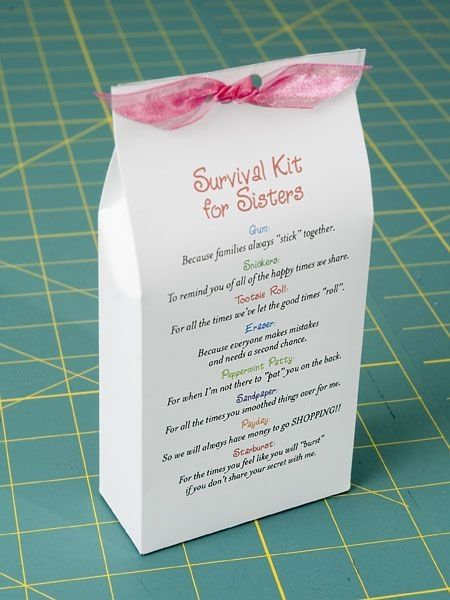 Sister Survival Kit This Is Such A Cute Idea My Daughter Making One For Her Homemade Gift Good Birthday Or Christmas Etc