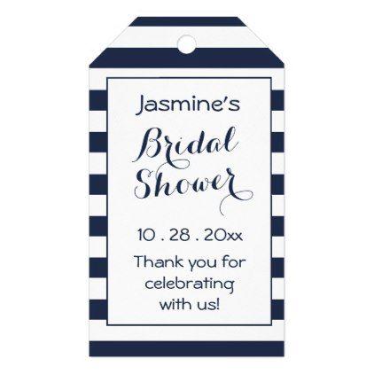 Nautical Bridal Shower Thank You Navy Blue Stripe Gift Tags Zazzle Com Nautical Bridal Showers Nautical Theme Bridal Shower Bridal Shower
