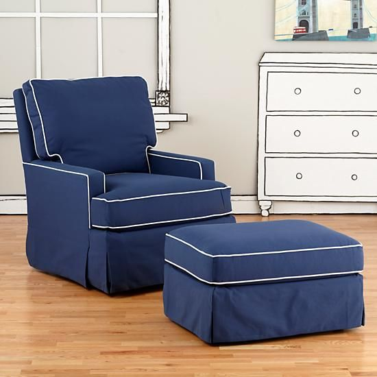 check out 08c4f f683c Nursery Gliders: Blue and White Trim Mod Nod Swivel Glider ...