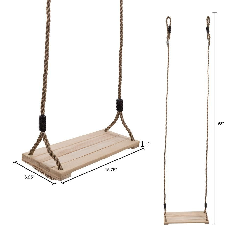 Hey Play Wooden Flat Bench Specialty Swing For Kids Playset Hw3500011 The Home Depot In 2020 Swing Set Diy Kids Swing Rope Swing Diy