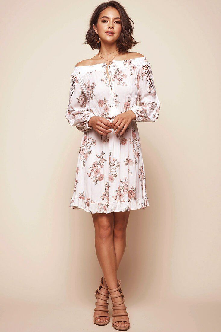 634666dc63d1f Fifi Off-Shoulder Floral Dress White in 2019 | Clothes | Off ...