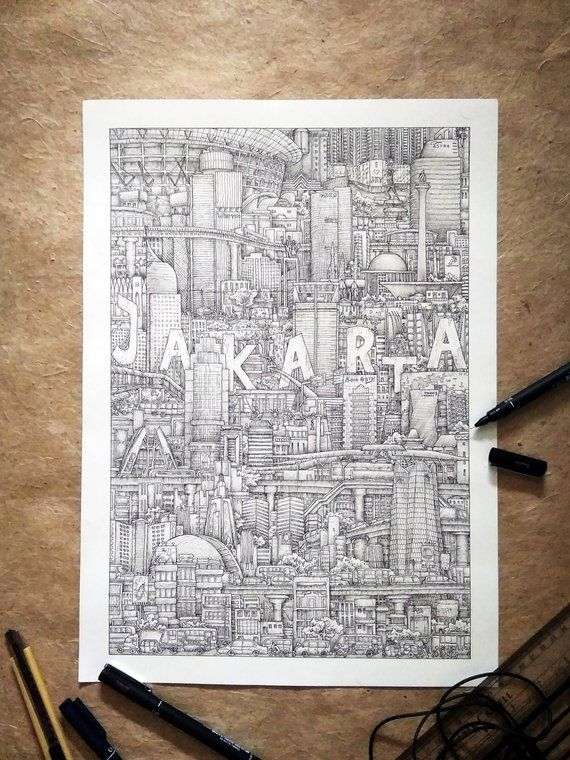 Hand Drawn Jakarta City Poster Detailed Indonesian Drawing
