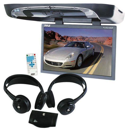 19'' Flip Down w/ Built In DVD/SD/USB Player w/ Wireless FM/ Modulator & IR Transmitter + Dual Wireless IR Mobile Video Stereo Headphones w/Transmitter