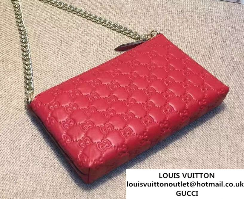 f28eb0e5853 Gucci Signature Leather Wrist Chain Wallet 428449 Red 2016