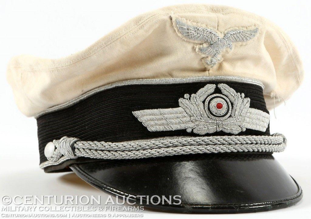 WWII GERMAN WHITE LUFTWAFFE OFFICER VISOR CAP  35b3c545941