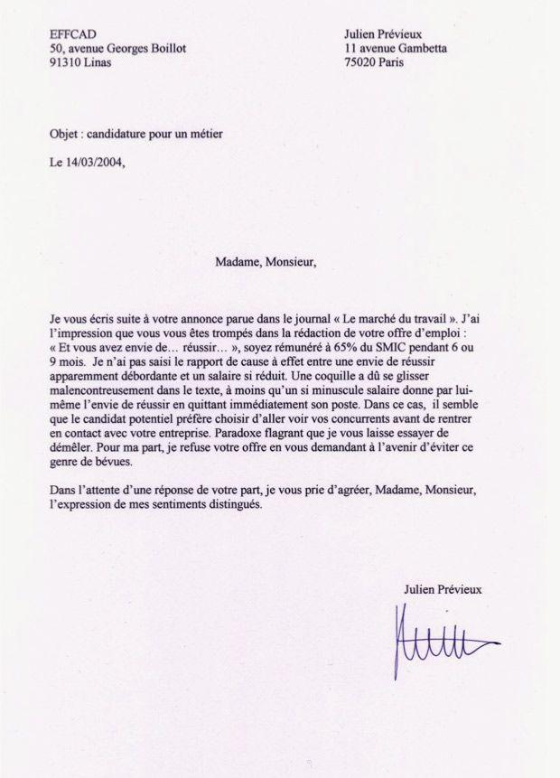 Julien Prvieux Lettre De Non Motivation 2004 Art