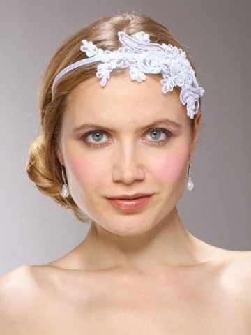 """The high quality antique lace is adorned with dainty pearls & sequins on a slender 1/8"""" satin covered headband. #BridalHeadband Available at wedding accessories specialists Destination Wedding Boutique! www.destinationweddingboutique.com"""