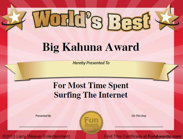 big-kahuna-awardjpg (600×457) New Yearu0027s Eve Pinterest - best employee certificate sample