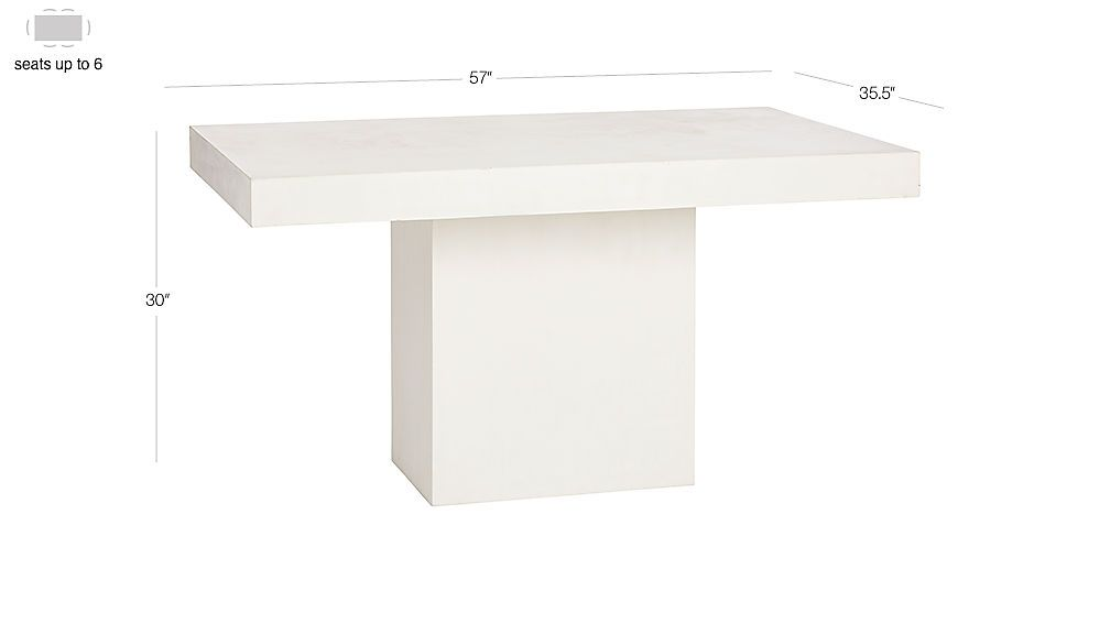 Image With Dimension For Fuze Ivory White Stone Dining Table