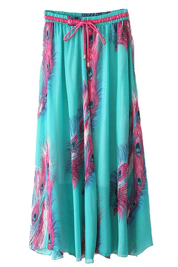 15c7d15134 Green+Feathers+Print+Elastic+Waistband+Chiffon+Maxi+Skirt+#Green+#Skirt +#maykool
