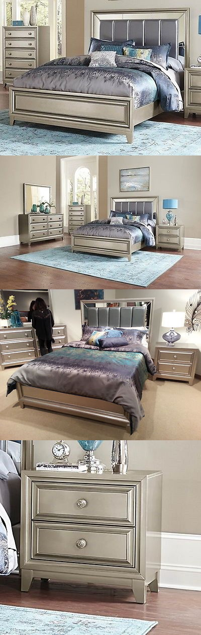 Headboards and Footboards 109064 Glamorous Gray Grey Mirrored King