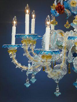 Venetian Blue Murano Glass Chandelier Murano Glass Chandelier
