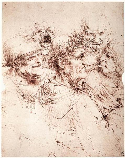 Study of five grotesque heads, c1494 - Leonardo da Vinci High