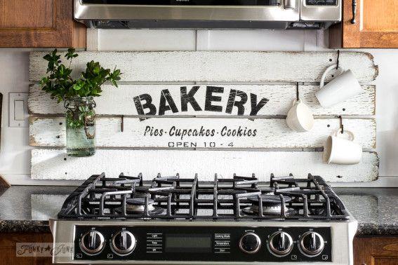 Diy This Charming Farmhouse Bakery Kitchen Sign Scrap Wood Stencil Kitchen Signs Shiplap Kitchen Trendy Kitchen Backsplash