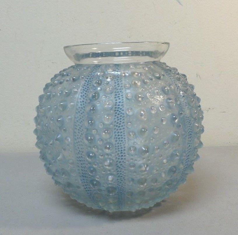 Original R Lalique Oursin Sea Urchin Vase Blue Staining Patina