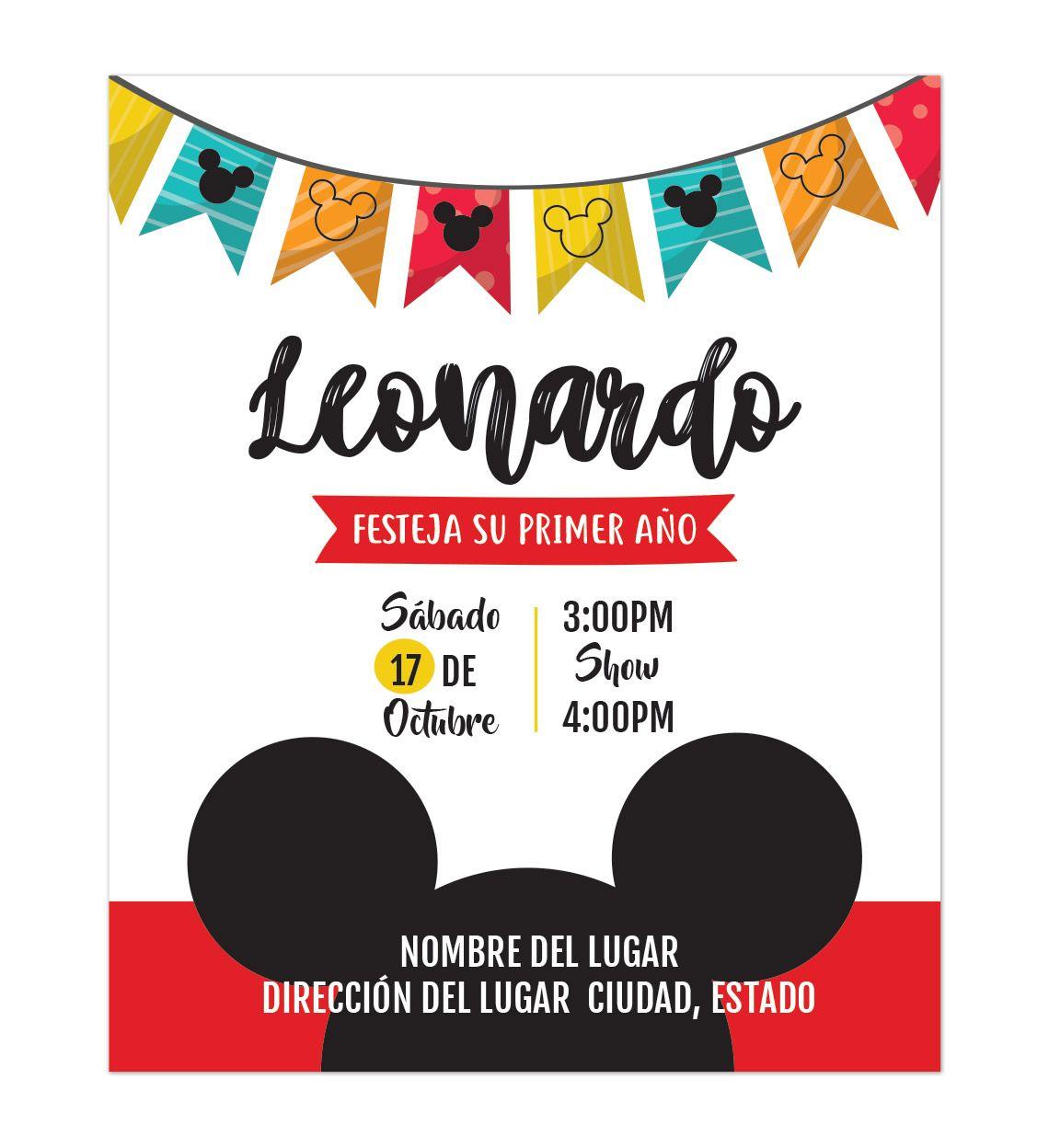 Invitación Cumpleaños Mickey Invitaciones De Cumpleaños