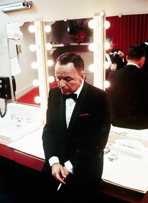 Frank Sinatra in his dressing room at the Sands in Las Vegas, photographed by John Bryson, c. 1964