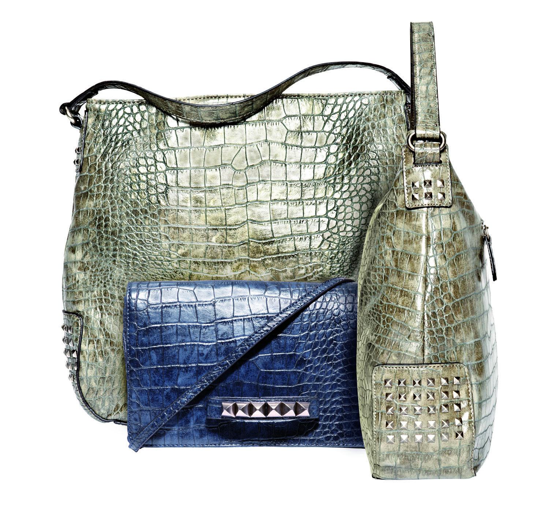 trend: studs — @Cosmopolitan clutch and bucket handbag