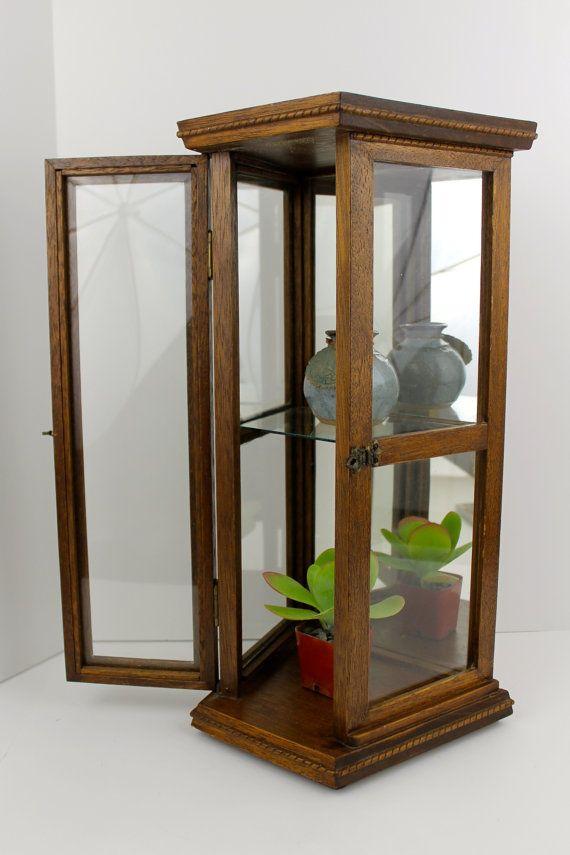 Vintage Oak Curio Cabinet Hanging Wall By Obsoletestreet