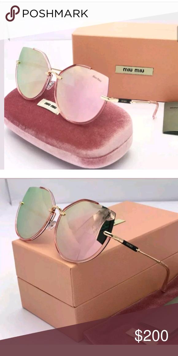 5483899b20c0 2018 Miu Miu by Prada Sunglasses semi frameless Sunglasses 2018 New Women Miu  Miu Polarized MU52RS-1AB0A7-52 Glod Powder Mercury Iridium Lens Height   48.9 ...