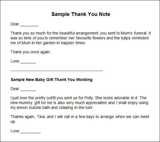 thank you notes samples baby shower gift wording ideas Home Design - sample love letter