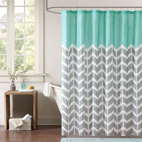 Teal Grey White Zig Zag Chevron Microfiber Shower Curtain With