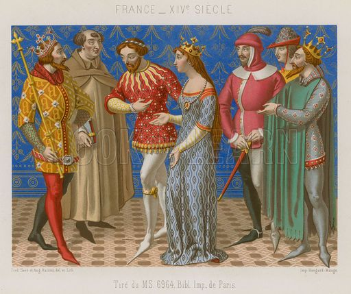 Figures in 14th-century French clothing - Look and Learn History