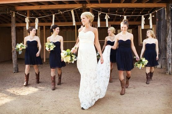 Navy Blue Bridesmaid Dresses With Boots Actually Inspired The
