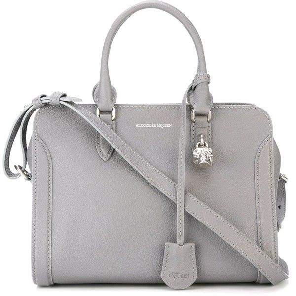 Alexander Mcqueen Padlock Tote Found On Polyvore Featuring Bags Handbags Purses Grey Hand Leather Handbag Purse