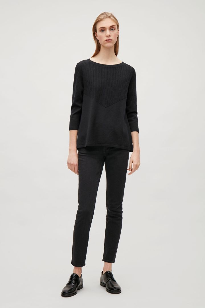 COS image 1 of A-line ribbed jumper in Navy
