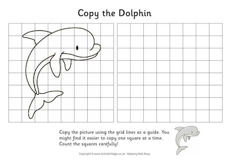 Grid Copy Dolphin Art Worksheets Art Worksheets Printables Elementary Drawing Free printable grid art worksheets
