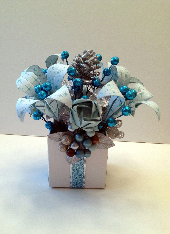 Winter Wonderland Blue And Silver Origami Paper Christmas Flower Arrangement Christmas Flower Arrangements Paper Flower Arrangements Christmas Arrangements