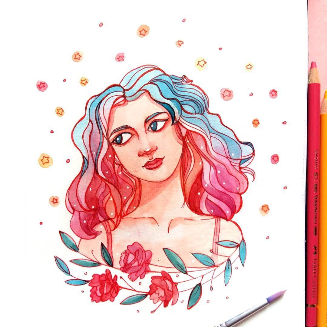 Girl With Magical Hair By Marta Skoniecka Watercolour Aquarelle