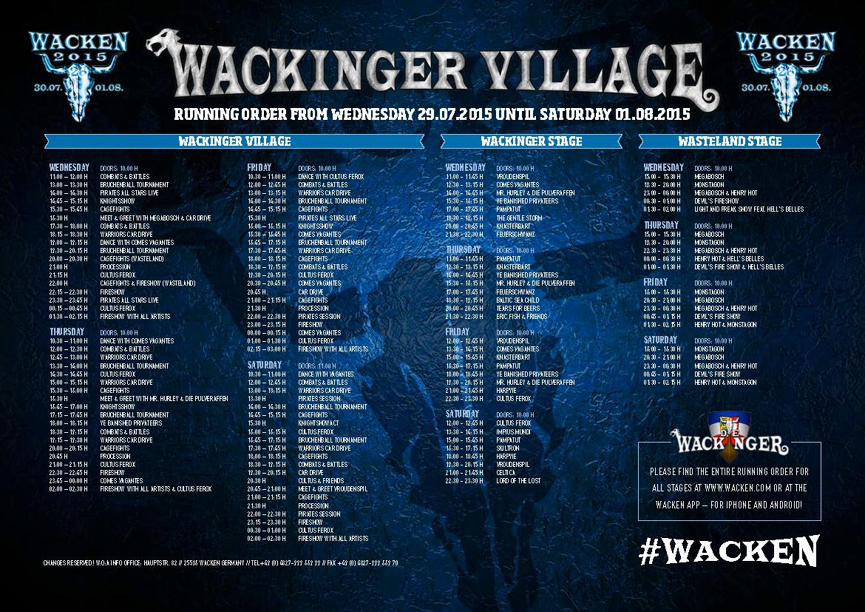 Running Order Wacken Open Air 2015 Wackinger Village W O A Wacken 2015