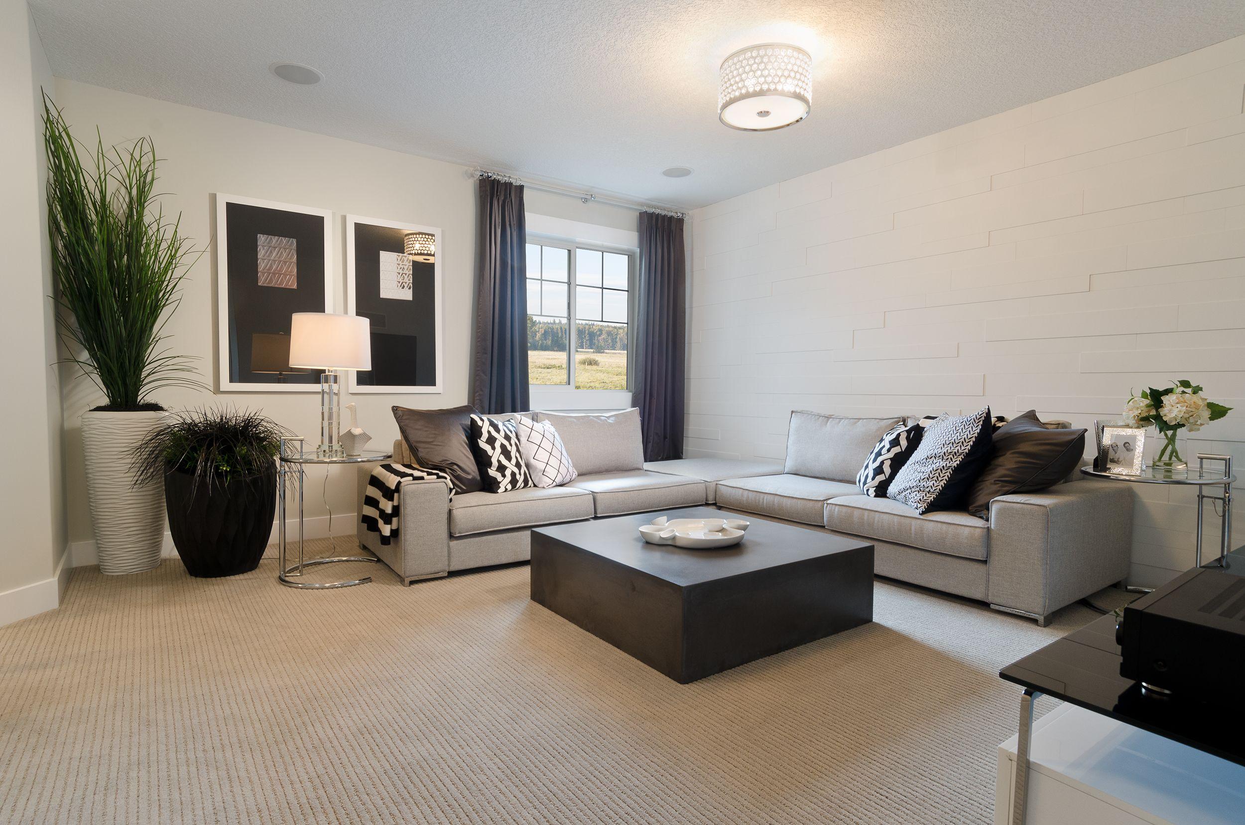 Light Grey Sofa With Dark Carpet Alstons Bedroom Furniture Bonus Room Of The Everett Showhome In Nolan Hill