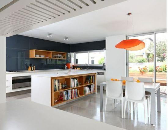 Küche einrichten Gestaltungsidee Bücherregale kitchens  dining