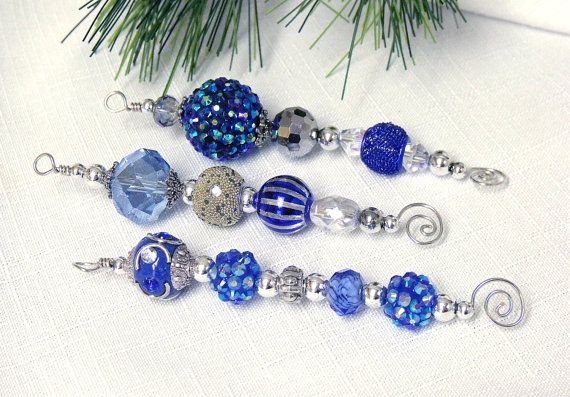 Blue Christmas Ornaments - blue and silver beaded icicle ornaments on Etsy, $12.00