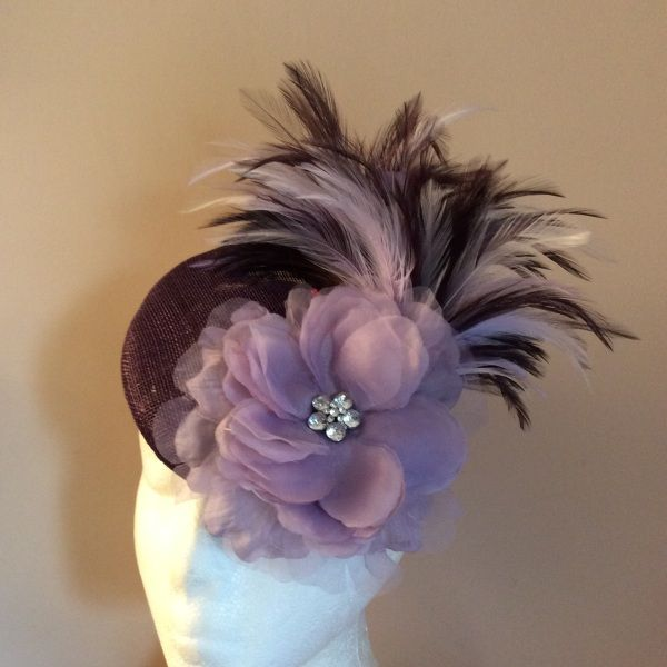 Aubergine and lilac sinamay cocktail BY HELEN TILLEY #millinery #hats #HatAcademy