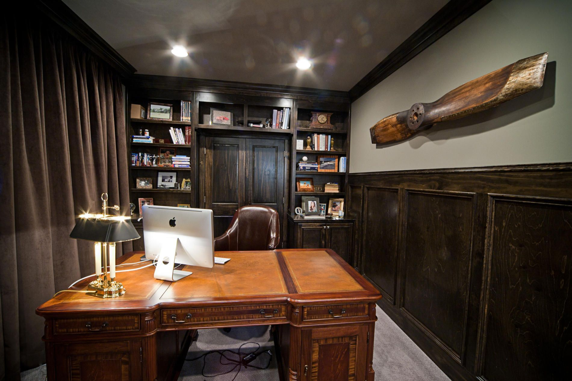 manly office. By Dark Wood And Chocolate-Brown Hues, This Masculine Office Inspiring Small Home Manly E