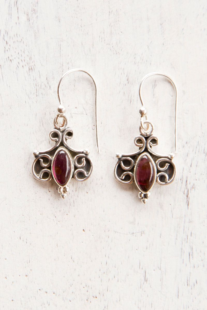 Swirl Garnet Earring  #Tree of life