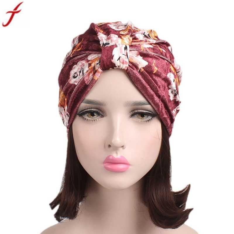 2018 summer women floral velvet turban hat india muslim stretch beanie  cancer chemo hat beanie scarf turban wrap cap  adult  women  casual  floral   skullies ... fe4a123b76