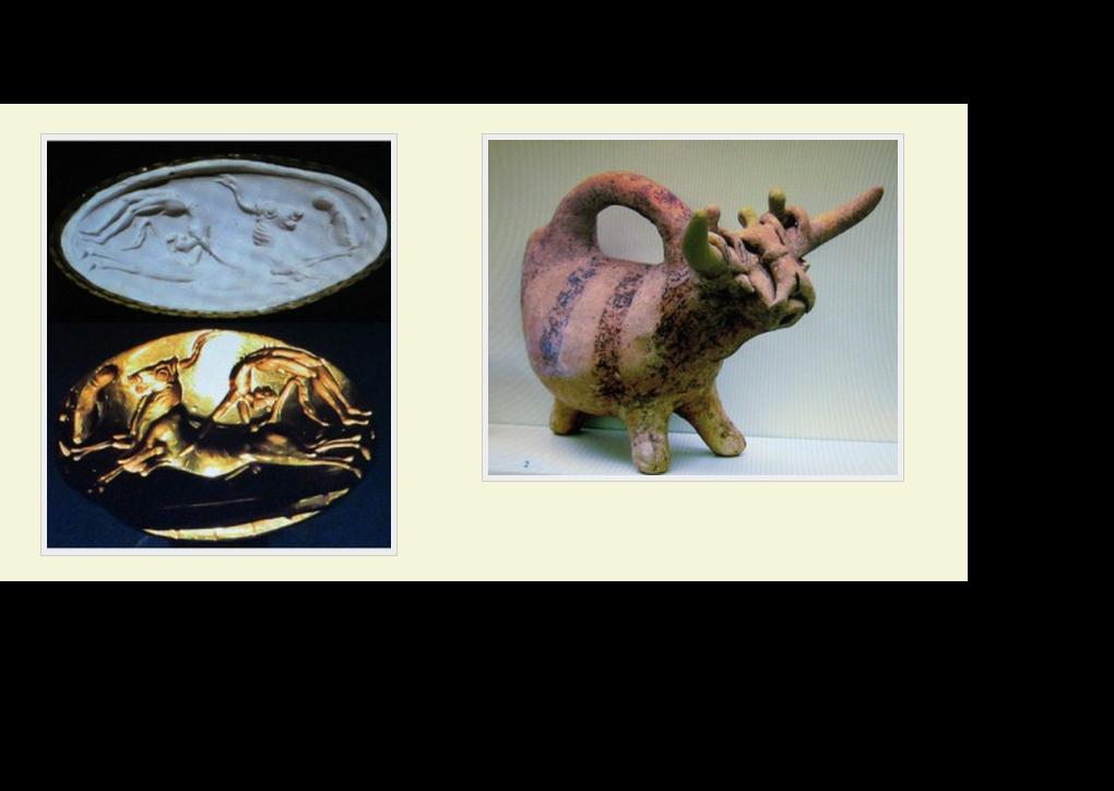 El toro está relacionado desde el inicio de los tiempos a la idea de fertilidad y a la diosa Madre; la presencia del nudo ritual e la cabeza de las muchachas o, a veces, suspendido delante del animal apoya que la Taurokathapsia era más que un deporte en la creta minoica.