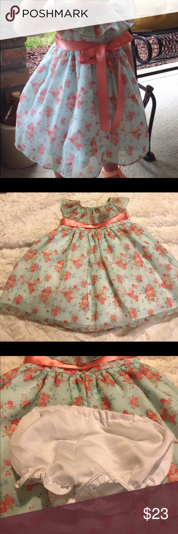 Laura Ashley Dress Size 12 months, this dress is mint and peach and crazy adorable!!!  Perfect condition, only worn 1 time. Laura Ashley Dresses Formal