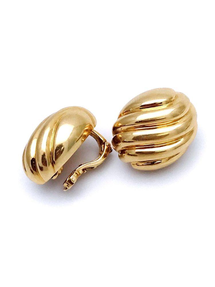 Antique 18k 750 Yellow Gold Puffy Oval Shape Cartier Earrings Ebay Link
