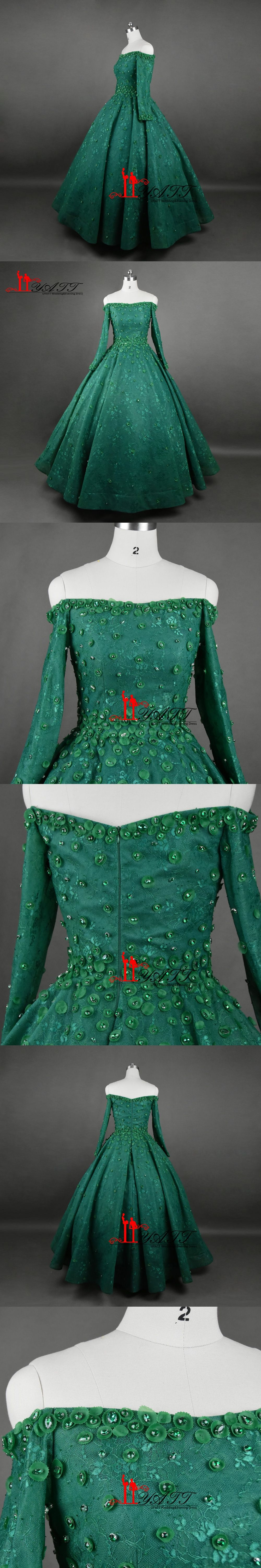 Luxury 2017 New Arrival Evening Dresses Dark Green Long Sleeves Puffy Ball  Gown Arabic Vintage Crystal 1938b26bc793
