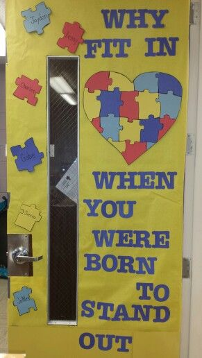 Autism, autism awareness, April, door decorate, light it