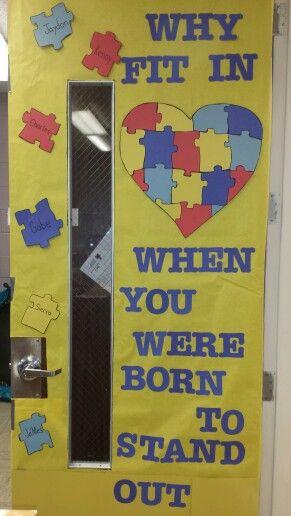 Autism, autism awareness, April, door decorate, light it