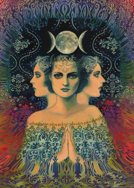 Moon Goddess Of Mystery Psychedelic Tarot Art 5x7 Card Mythology