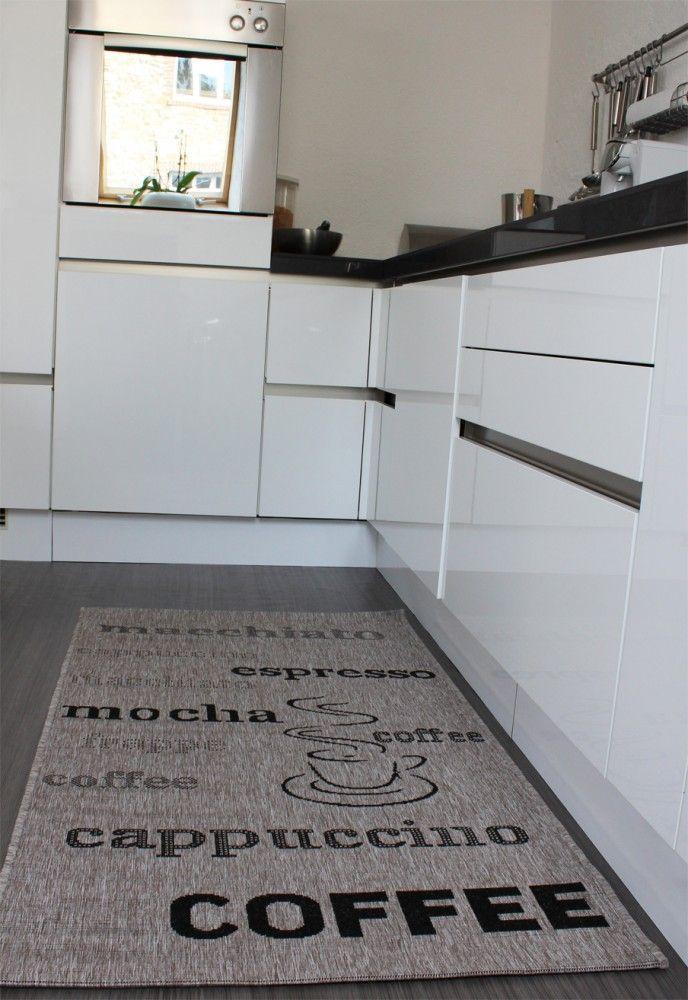 Teppich Sisal Optik in Grau mit Schriftzug espresso, cappuccino