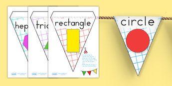 Shape Display Bunting - shape, numeracy, maths, bunting, display
